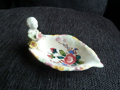 """9520) Cute (?Rare) dish leaf-shaped w 3d child at one end Made in Italy """"153"""""""