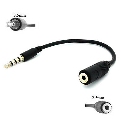 WHOLESALE LOT of 50 CONVERTER 2.5mm FEMALE to 3.5mm MALE HEADSET ADAPTER BLACK