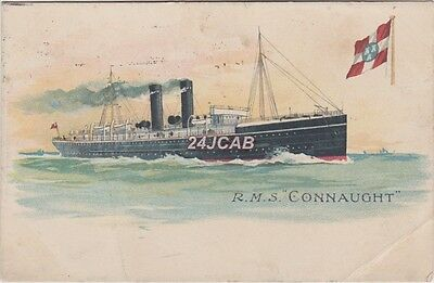 """City of Dublin Steam Packet Postcard.  RMS """" Connaught""""  Torpedoed in WW1.  1906"""