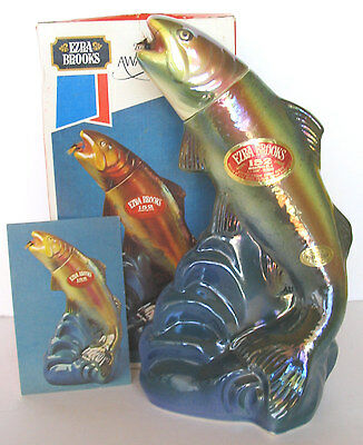 RAINBOW TROUT FAMOUS McGINTY FLY IRIDESCENT FISH BROOKS DECANTER + BOX, POSTCARD