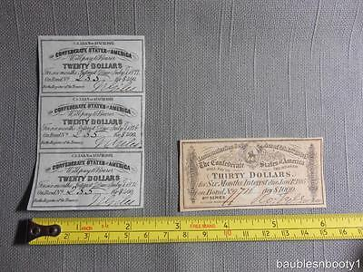 Group of 4 Confederate States of America Small Paper Bonds