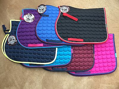 Cottage Craft Wentmore Quilted Saddlecloth Numnah Funky Colours, Pony cob & full