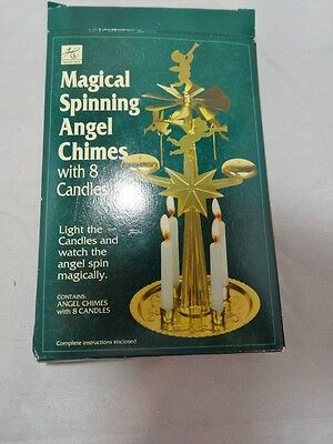 NOS HEARTH-SIDE Swedish Style ANGEL CHIMES for CHRISTMAS 4 Candle BRASS Windmill