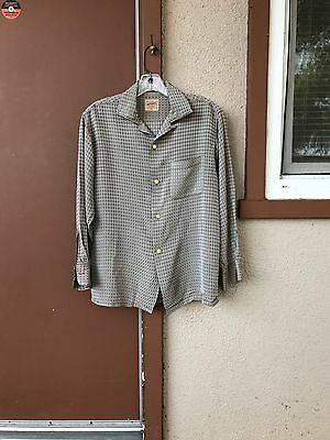 Vintage 50s National Mens Silky Rayon Shirt Jacquard Diamond Silver Gray Loop M