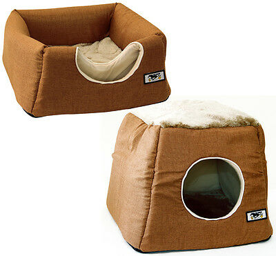 Collapsible 2 in 1 Kitten Cat Puppy Dog Pet Igloo Cave Bed House Large Brown