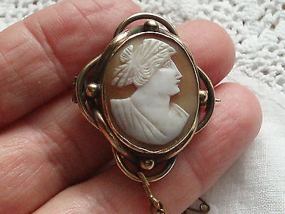 Antique Victorian Art Nouveau Goddess Hera Carved Shell Cameo Brooch