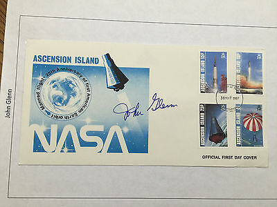 SIGNED JOHN GLENN large MERCURY FIRST DAY COVER rare ascension island