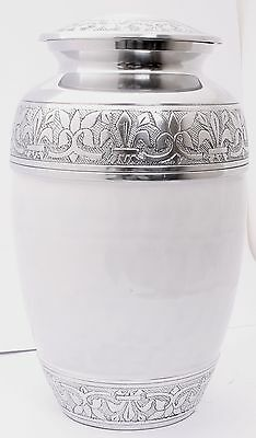 Cremation Urn for Ashes Funeral Memorial Remembrance Aluminium Large Urn - White