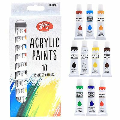 10 x 12ml Tubes Pack Of  Acrylic Paints Set Art Crafts Artist  Assorted Colours