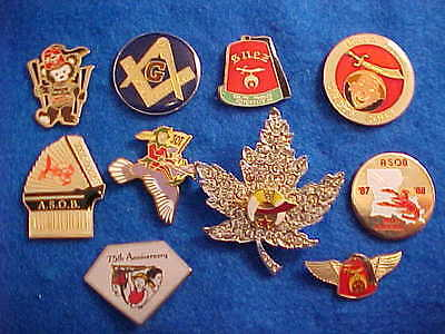 Masonic and Shriner pins with backings, collectables  Lot of 10 - #12