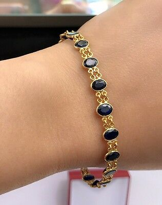 14k Solid Gold Tennis Bracelet, Natural Oval Sapphire 7.25 Inches, 8TCW