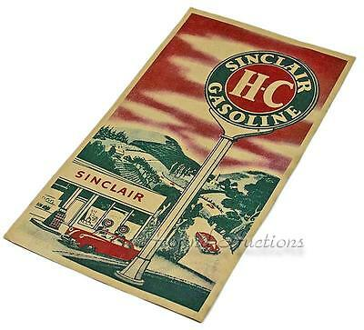 VINTAGE 1950's SINCLAIR GASOLINE GAS & MOTOR OIL CAN OLD PAPER WINDOW SIGN