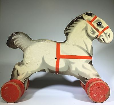 Lego/Gecevo 1940's Vintage Wooden Pull Horse RARE And Beautiful!