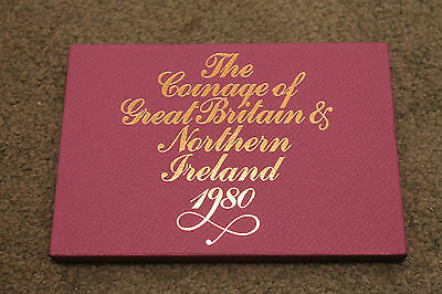 1980 Uk Coin Royal Mint Proof Set Great Britain + Ni 7 Coin Cased Collection