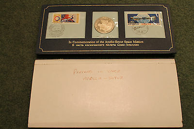 1975 Commemoration Of Apollo Soyus Space Mission Sterling Silver Medallion Set