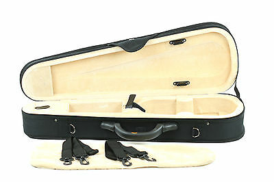 Black Cordura Dart Shaped Violin Case - 1/4 Size Light Weight - Many Features.