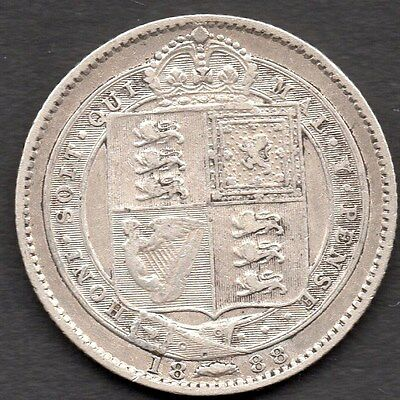 1888 Great Britain Shilling (1/-) - *** Used Condition ** Silver