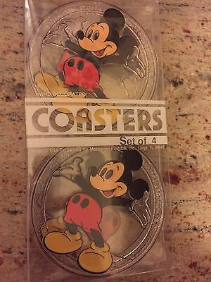 4 Vintage Mickey Mouse Plastic Drink Coasters From The Walt Disney Company