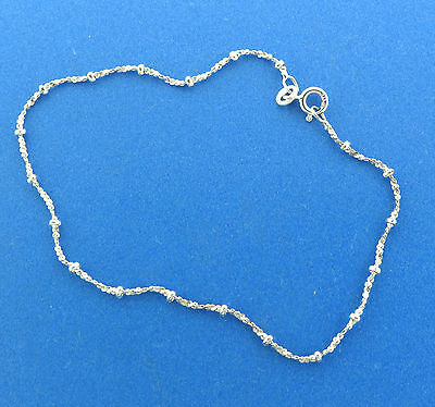 """Sterling Silver Beaded Rope Chain Anklet Ankle Bracelet 9.25"""""""