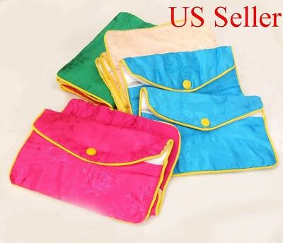 "12 Silk Jewelry Chinese Pouch Bag Assorted Color ONE DOZEN  Zipper - 6 1/2"" x 4"""