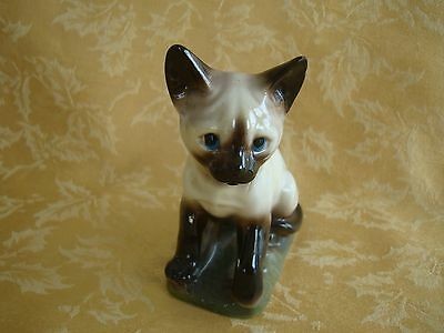 Vintage Ceramic Siamese Cat Figurine ~ Black & White with Blue Eyes