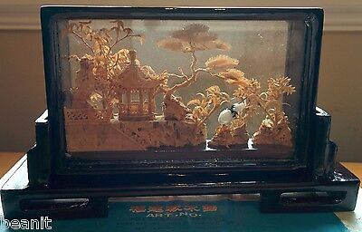 Asian Chinese Cork Carving - Beautiful Countryside with Pagoda & Cranes NICE