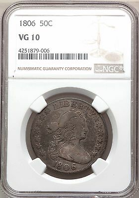 1806 Draped Bust Silver Half Dollar NGC VG10 Knob 6 Type Coin Overton