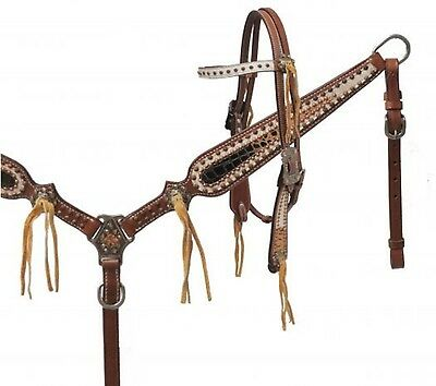 Showman LIMITED EDITION Alligator Print Leather Headstall and Breast Collar Set