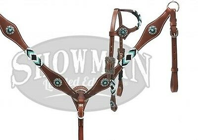 Showman LIMITED EDITION TEAL Beaded One Ear Headstall & Breast Collar Set!