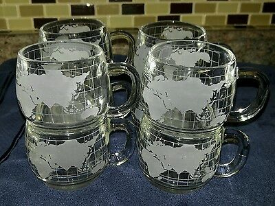 LOT Of 8 Nestle collectors 1970's Coffee Mug Cup WORLD GLOBE Map Etched Glass
