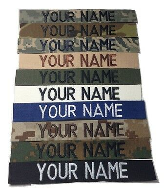 Military Custom Name Tape, Sew-On, ACU Multicam OCP Black ABU OD Desert