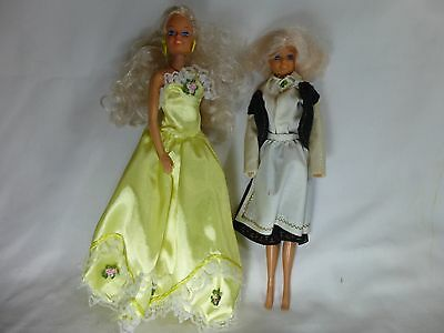 """2 1987 Totsy Fashion Doll Blonde Blue Eyes Yellow Outfit Black White Outfit 12"""""""