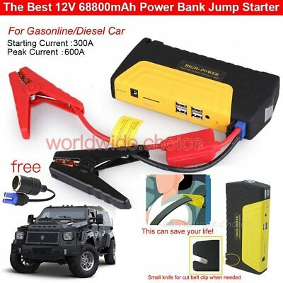 68800mAh 4USB Car Jump Starter Emergency Charger Booster Power Bank Battery 3LED