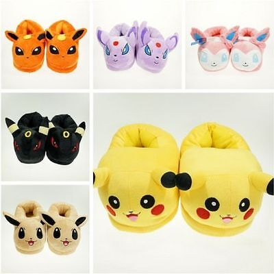 Pokemon Soft Plush Slippers Warm Hat Indoor Home Shoes Costume Xmas Gift