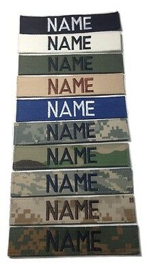 Military Custom Name Tape, With Fastener, ACU Multicam OCP Black ABU OD Desert
