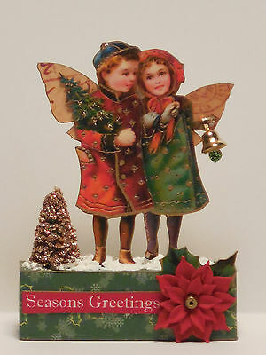 altered art Christmas fairy mixed media miniatures paper pixie wood