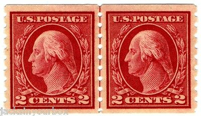 413 Coil Guide Line Pair, George Washington Red 2 ct Yr 1912 MNH