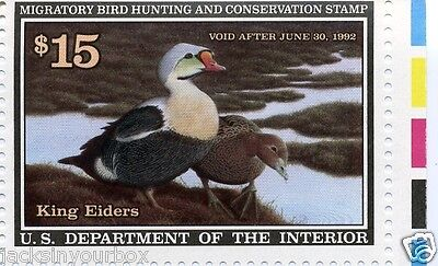Rw58 Single King Eiders W/color Bars $15.00 Yr 1991 Mnh Hunting, Start At Face