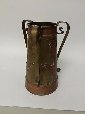 Antique Russian Brass / Copper Three Handled Urn / Vase