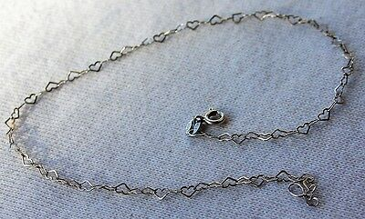 """Sterling Silver Italy 925 Delicate Heart Link Anklet 10"""""""