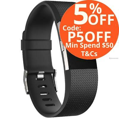 Fitbit Charge 2 HR Activity Tracker Sleep Fitness Monitor Wristband Black Large