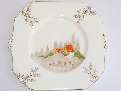 Charming Art Deco Gladstone China Hand Enamelled Hand Painted Cake Plate.