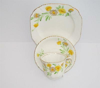 Art Deco Thomas Forrester Hand Painted Yellow Daisy Teacup,Saucer and Plate Trio