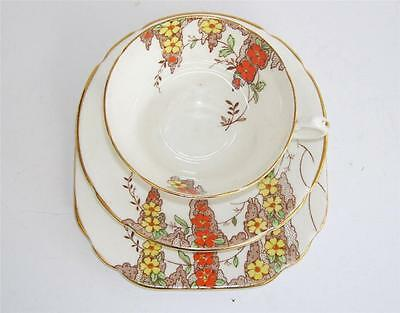 Art Deco Stanley China Hand Enamelled Hand Painted Teacup Saucer Plate Trio.