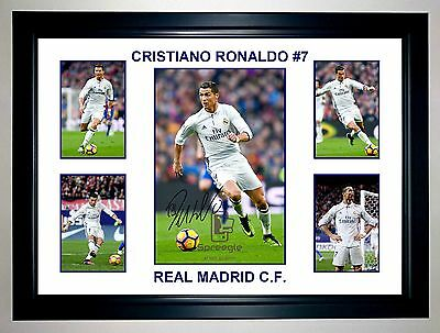 Cristiano Ronaldo Real Madrid 5 Photo Collage Signed Print Or Framed