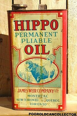 RARE! VINTAGE 1944's Antique HIPPO OIL Imperial Gallon Can - Partially Full