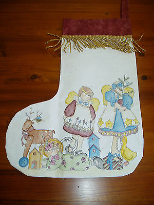 Unique Hand painted Girls  Christmas  Stocking