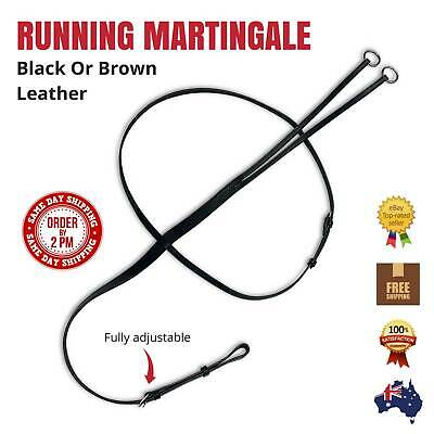 NEW Quality Black Leather RUNNING MARTINGALE - Cob & Full Size - FREE P&P!