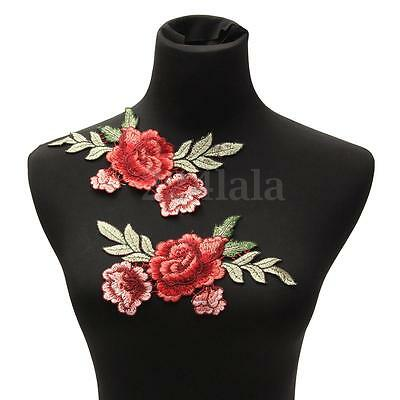 2 Rose Flower Motif Collar Sew Patch Cute Applique Badge Embroidered Bust Dress