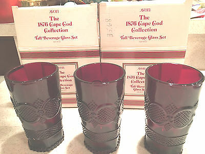 Vintage Avon Cape Cod Ruby Red Set Of 3 Tall Beverage Glasses In Boxes Excellent